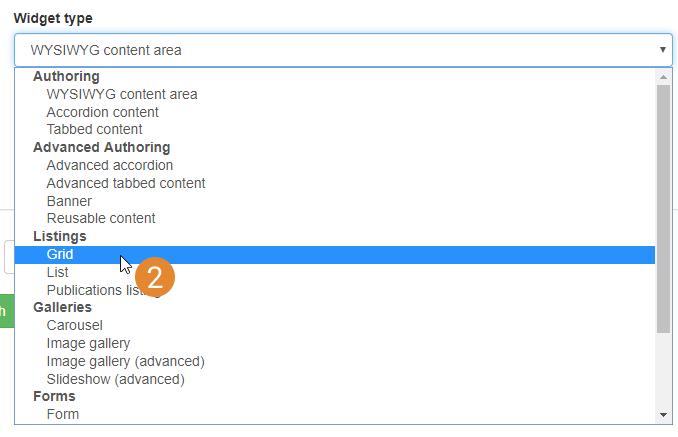 add new widget select list