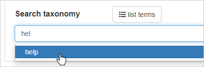adding a search taxonomy term to a page