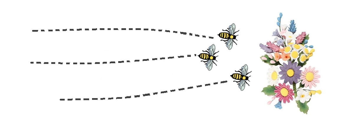 The image shows 3 bees seeking nectar from a bunch of flowers, as a metaphor for concurrent serving of web pages