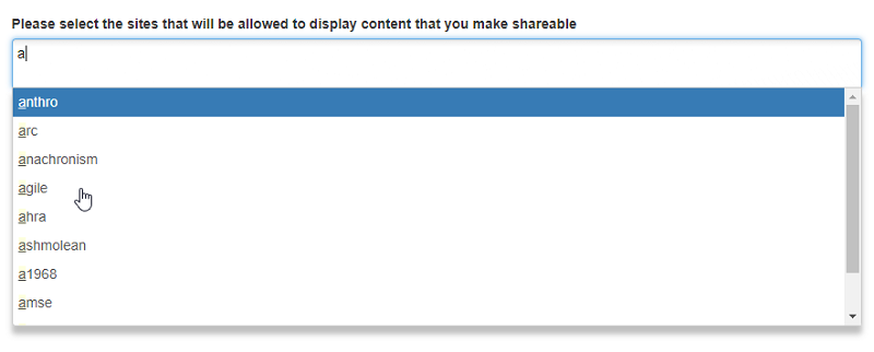 Select sites to share content with by typing the site name