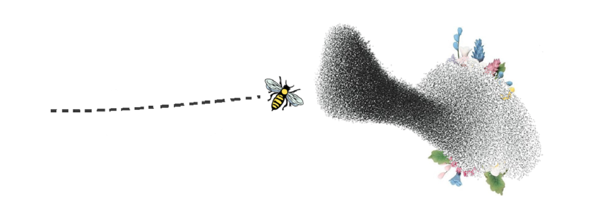 The image shows a swarm of bees nearly completely covering a bunch of flowers as a metaphor for a Denial of Service attack