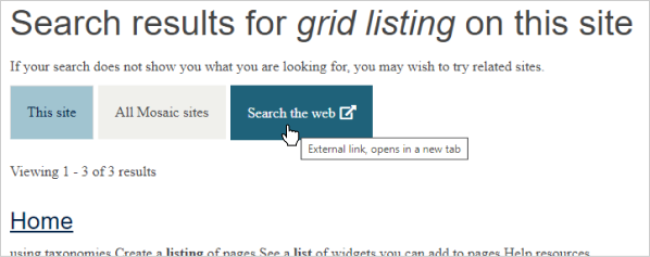 website visitor selecting the 'external search' option on the search results page