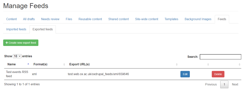 create export feeds in Manage Content > Feeds > 'Exported feeds'