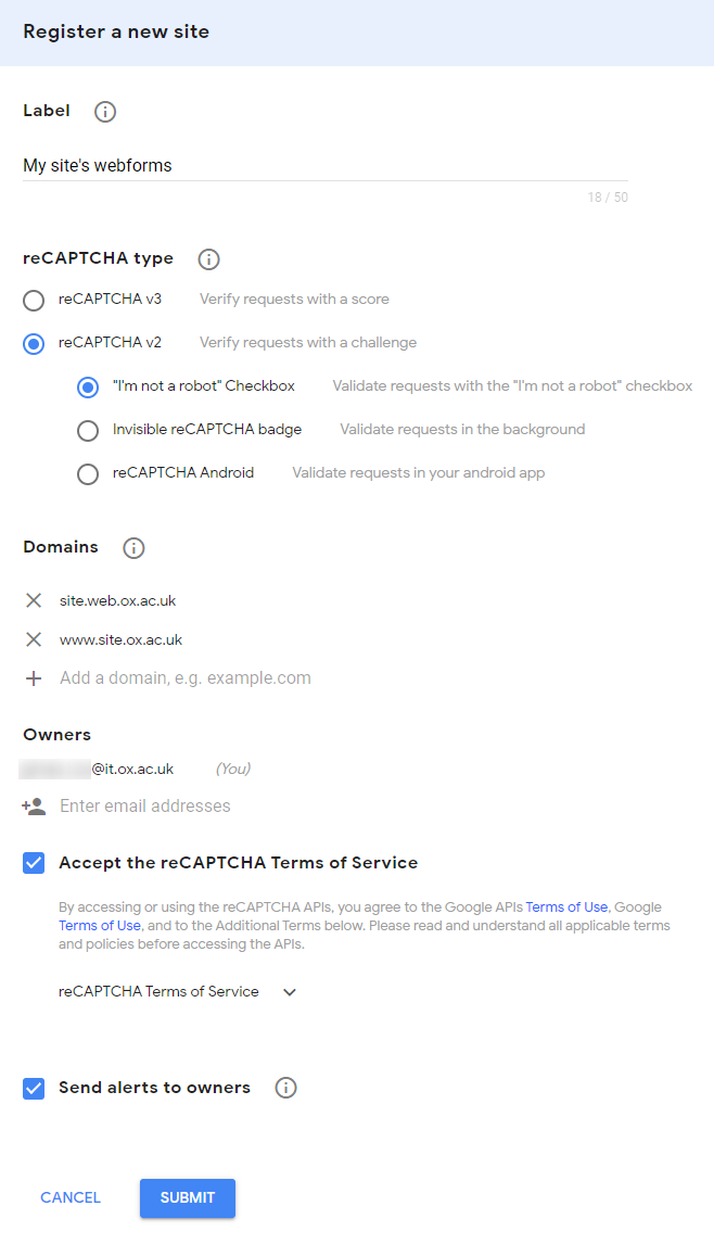 registering a new site options within google recaptcha