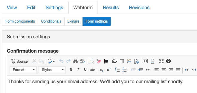 Screenshot of webform confirmation message field