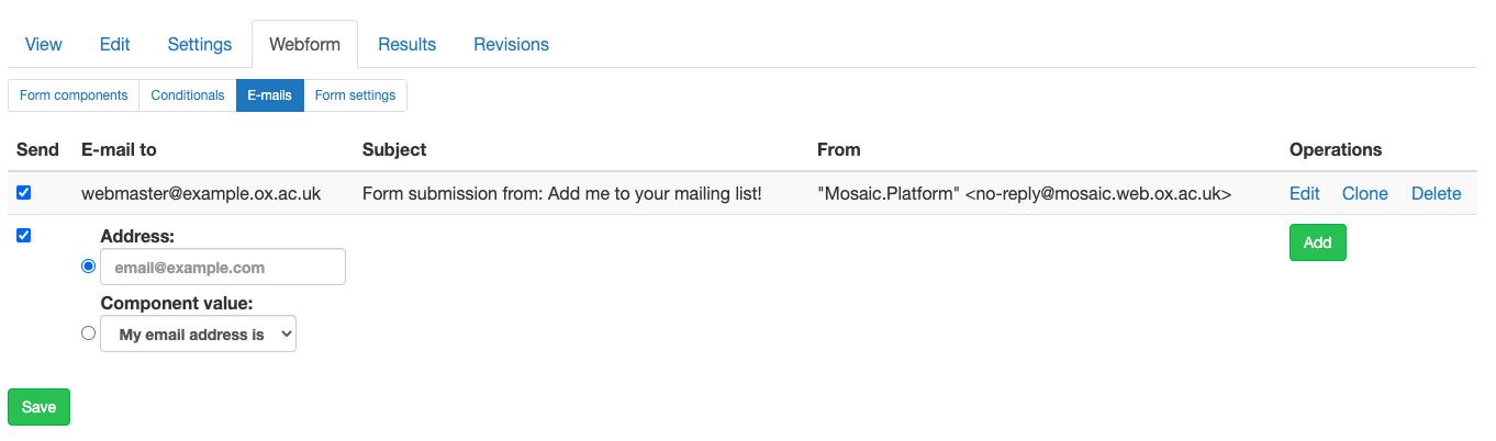 Screenshot of webform emails config screen