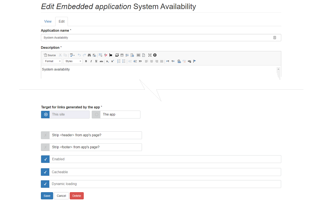embedded app configuration screen with dynamic loading option selected