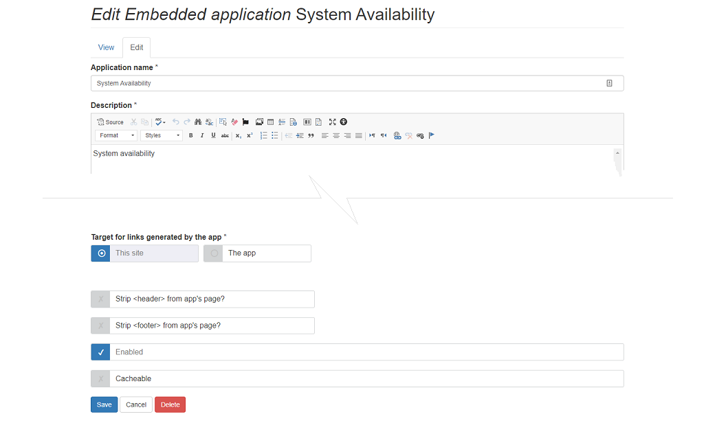 embedded app configuration screen