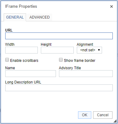 iframe properties modal