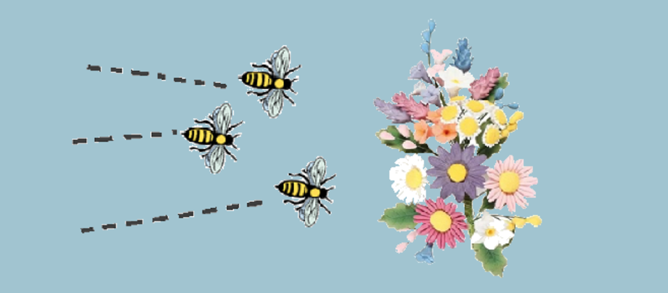 The image shows several bees successfully seeking nectar from a bunch of flowers, as a metaphor for responsive webserver performance