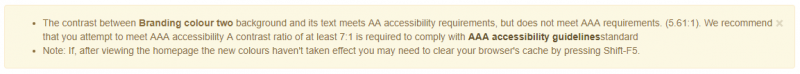 Accessibility notice - meets AA standard, but does not meet AAA standard