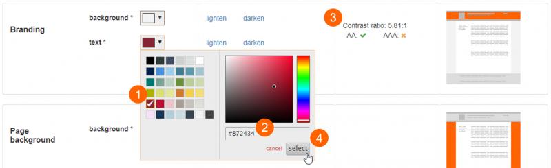 Advanced colour settings