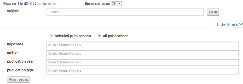 Screenshot of Publications listing widget 'More' page with 'Filters' section expanded