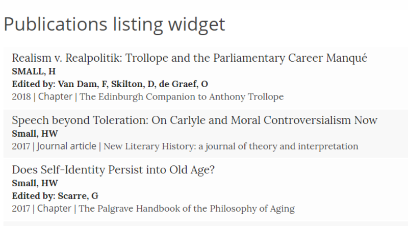 Screenshot of Publications listing widget with authors/editors showing