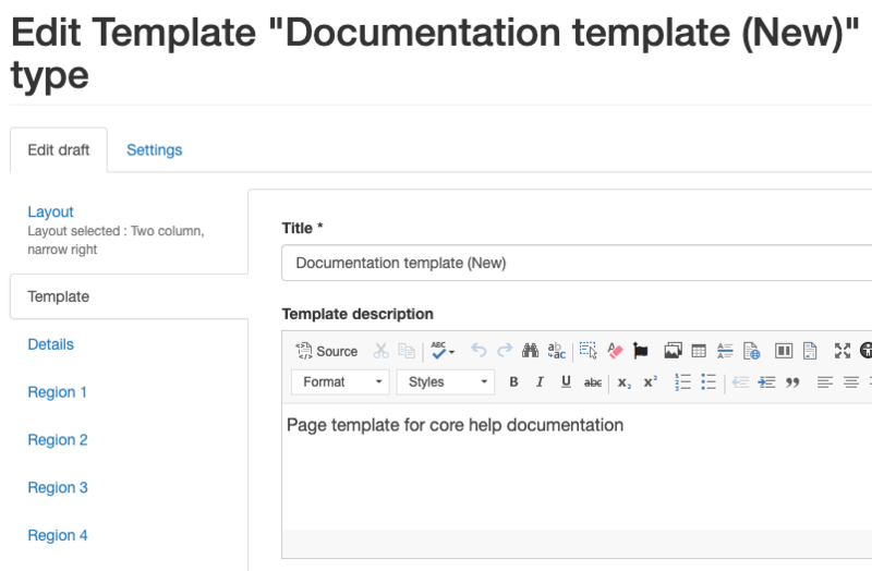 Screenshot of the Template editing page, showing a description being added in the 'Template' tab