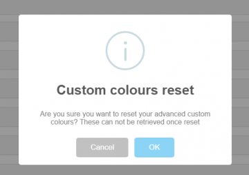 Custom theme colours reset warning