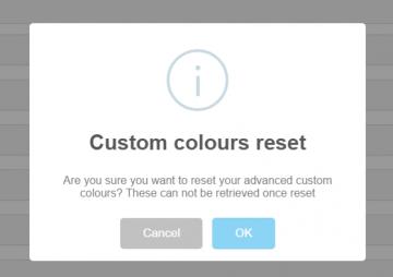 Custom theme colours reset warning