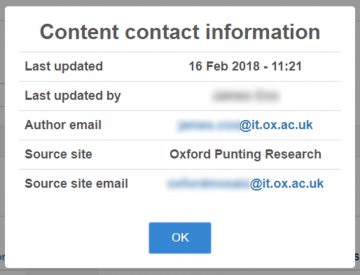 Shared content contact information modal
