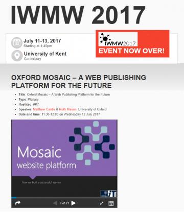 IMWM 2017 Oxford Mosaic plenary