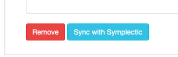 Screenshot of Publications listing widget 'Sync with Symplectic' button